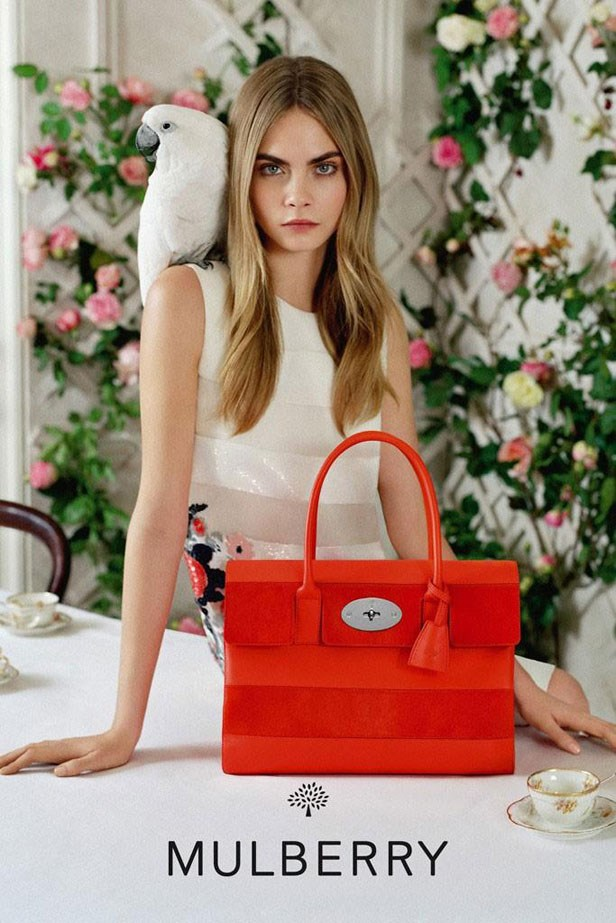 In the Mulberry S/S14 campaign, Cara Delevingne posed with a very chic little umbrella cockatoo.