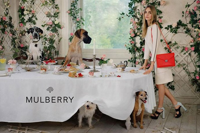 In the same campaign, Delevingne also posed with some canine friends.