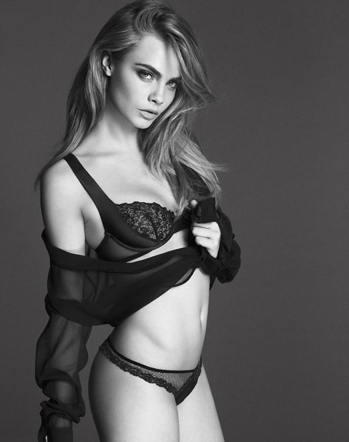 Cara Delevingne shows off her stunning body in the S/S14 campaign for luxe lingerie brand La Perla.