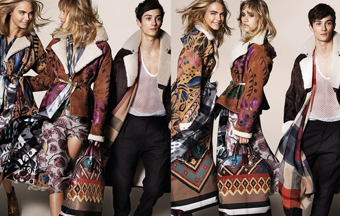 """In the new Burberry A/W14 campaign, Delevingne stars alongside BFF Suki Waterhouse. <br><br> Related links: <a href=""""http://www.elle.com.au/news/fashion-news/2014/6/bffs-cara-and-suki-star-in-new-burberry-campaign/"""">BFFs Cara and Suki star in new Burberry Campaign</a>"""