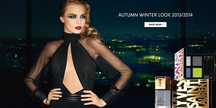 Cara Delevingne makes neon accents look sexy in this A/W13 campaign for YSL Beauty.