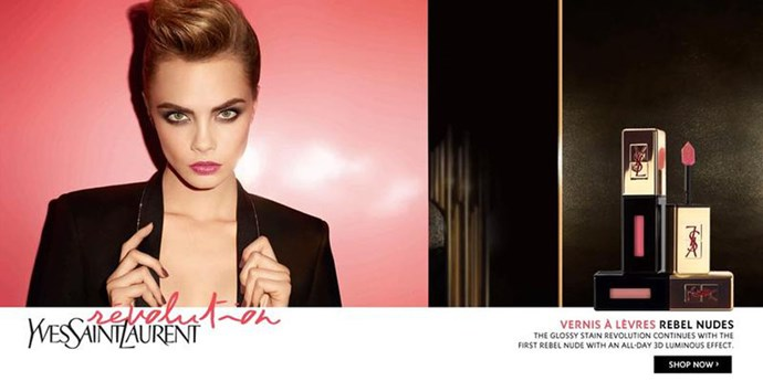 In the same season, and again for YSL beauty, Delevingne also convinced us we need a rosy pink lip-gloss in our lives.