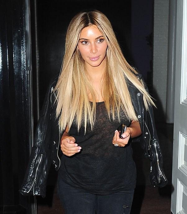 Kim Kardashian with long blonde hair