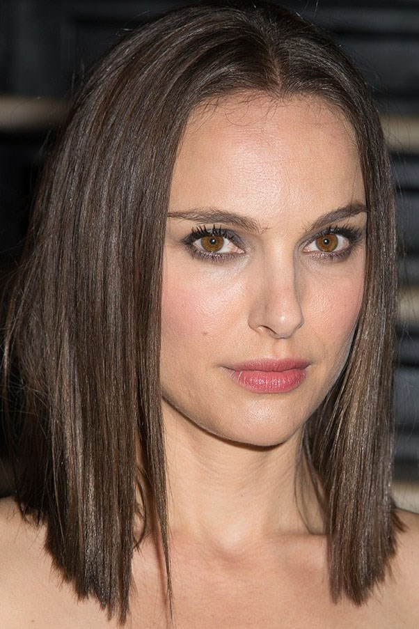 Natalie Portman earlier this year, with her natural chestnut bob.