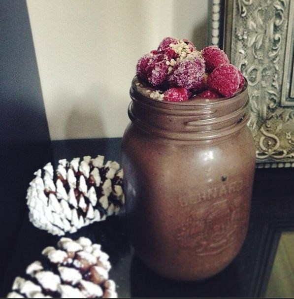 """<a href=""""http://instagram.com/egmotivation""""><strong>@egmotivation</strong></a> <br><br> Winter comfort food, in smoothie form. This dessert-like smoothie by mysterious Vancouver heath 'grammer packs in raspberries, chocolate protein powder, spinach, almond milk, hemp seeds, maca powder and ice."""