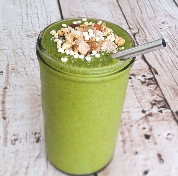 """<a href=""""http://instagram.com/nourish_yourself""""><strong>@nourish_yourself</strong></a><br><br> Australian blogger Kimberley Neumann's recipes are fresh and never boring. We salivate over her smoothies, especially this classic green one. Which blends 1 frozen banana, 1 frozen mango cheek, 2 big handfuls spinach,  2 tbs chia seeds, 1 tbs mesquite powder, 1/2 scoop ezy vanilla brown rice protein and 400 ml filtered water. Not on Insta? She also has a great recipe app available from the iTunes app store."""