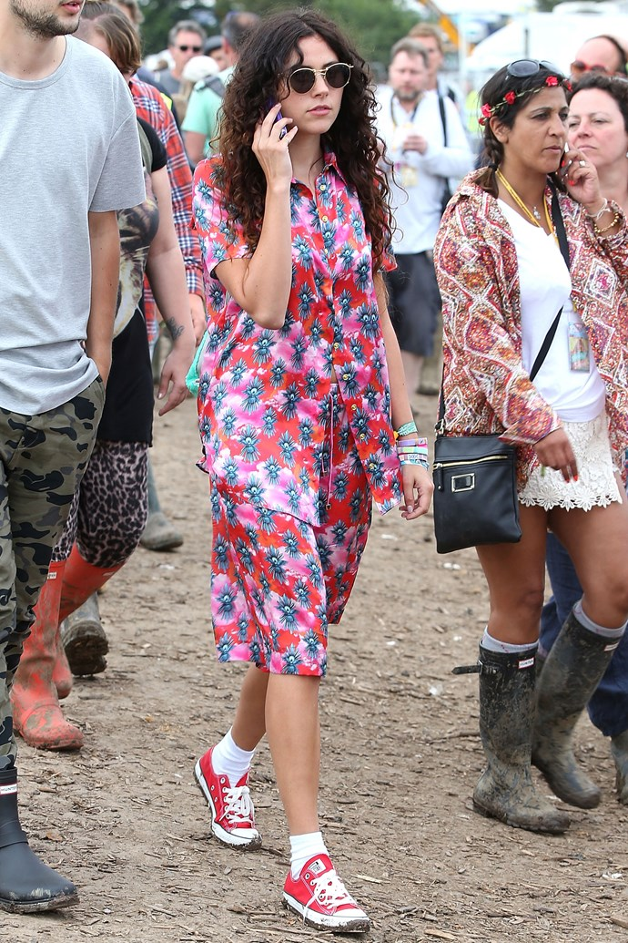 British singer Eliza Doolittle looks like the funnest girl in the place in this floral two-piece and red sneakers.