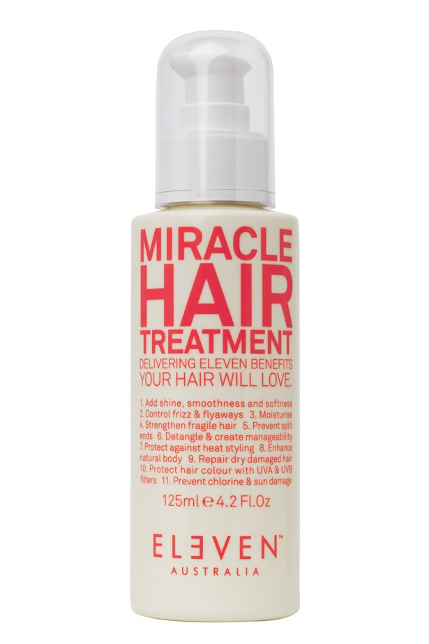 "<p><strong>Best for – all-in-one treatment and styling</strong><p/> <p><em>ELEVEN Australia Miracle Hair Treatment, 125ml for $24.95, <a href=""http://elevenaustralia.com/"">elevenaustralia.com</a></em><p/> <p>This treatment contains silk amino acids and covers all hair concerns including UV damage, shine, smoothness, helps repair spilt ends, controls frizz and flyaway while maintaining lightweight manageability.<p/>"