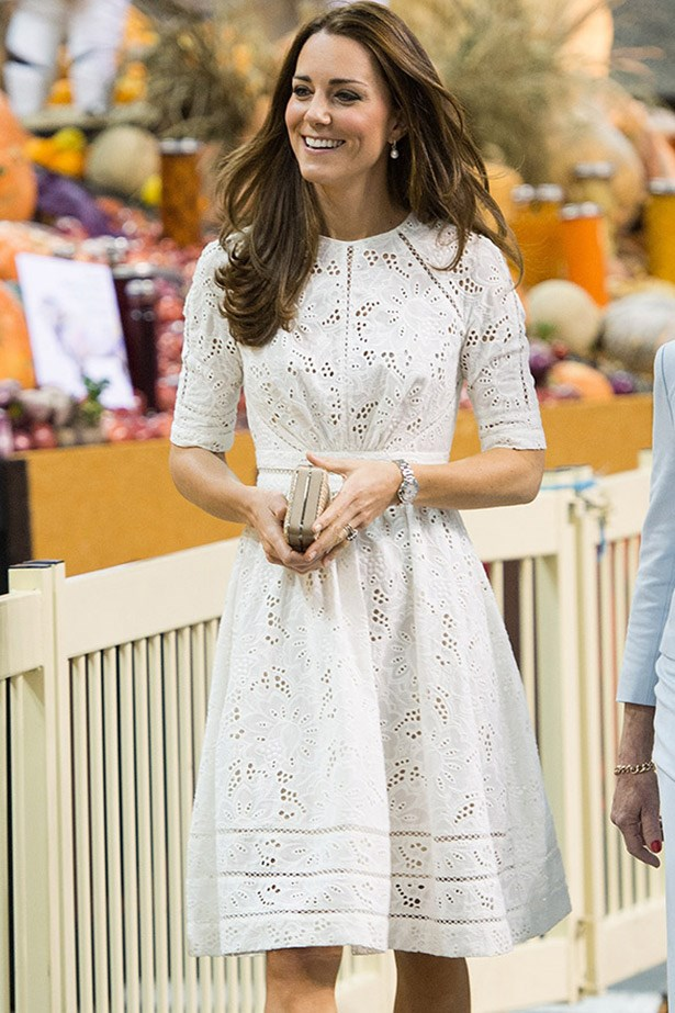 We last saw Kate wear the mid-sleeve brodie anglaise dress on her Australian tour a few months back, while visiting Manly beach and the Royal Easter show in Sydney. It was one of two local designer pieces she wore while here – the second being a hat by Sydney milliner Jonathan Howard.