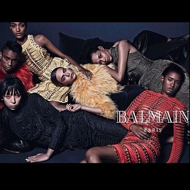 Balmain's AW14 campaign starring models Ysaunny Brito, Cara Delevingne, Jourdan Dunn, Issa Lish, Binx Walton and Ford newcomer Kayla Scott.