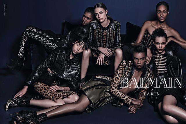 """Balmain's Creative Director, Olivier Rousteing unveiled the campaign on his personal instragram and said, """"THIS IS THE NEW BALMAIN ARMY ... Thank u @kegrand and @mario_sorrenti_2 for believing in my vision. Your talent and passion is an inspiration for me. Different girls, different backgrounds come together strong to lead the new BALMAIN ARMY"""""""