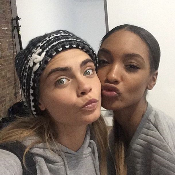 Cara Delevingne and Jourdan Dunn behind the scenes of Balmain's AW14 campaign shoot.