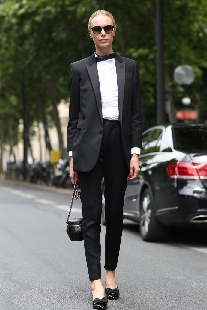 The ELLE team loves a tux. Here's how to do it right: simple hair, sweet flats and a tiny bag. Winner.