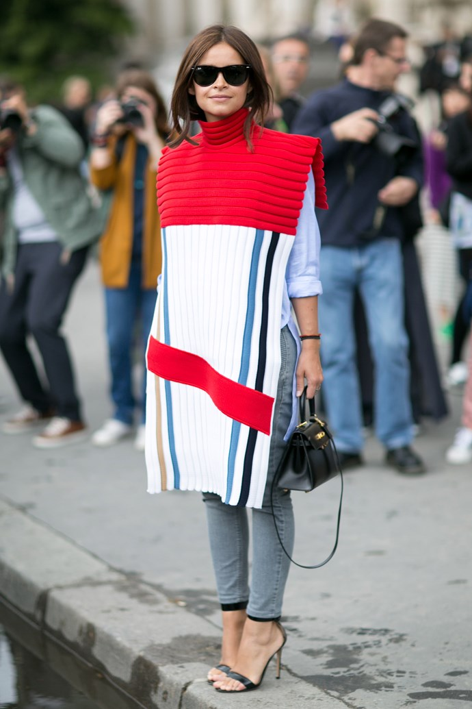 Miroslava Duma is a street-style veteran who's never caught in last season's looks. Here she makes a bold statement in a bright JW Anderson cape.
