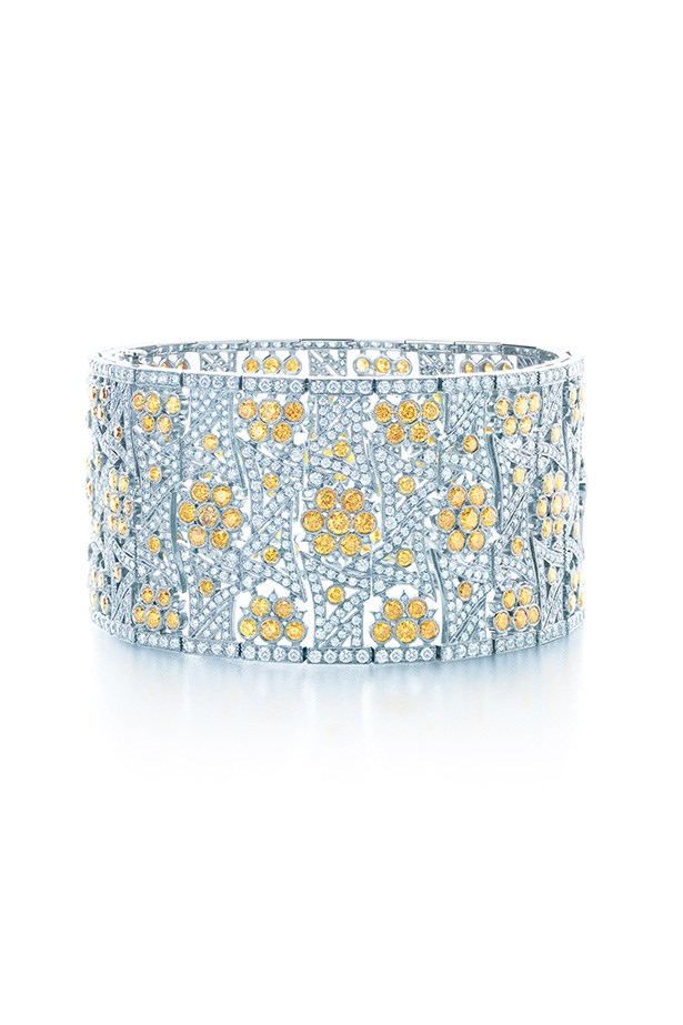 Tiffany & Co. 11.68ct Yellow Diamond and 8.85ct Diamond Flower Bracelet in platinum, $235,000.