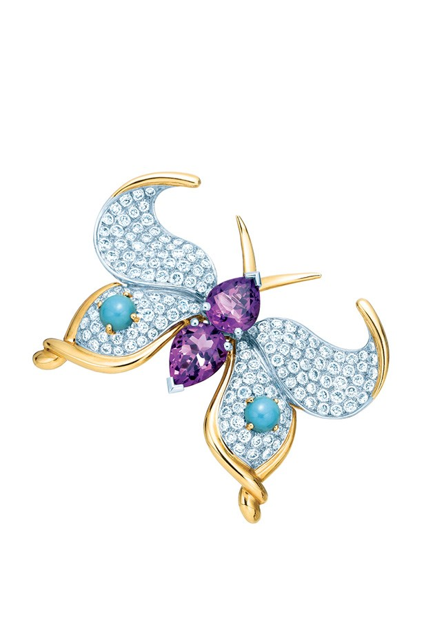 Jean Schlumberger for Tiffany & Co. Amethyst, Turquoise and Diamond Brooch in platinum and 18k yellow gold, $42,600.