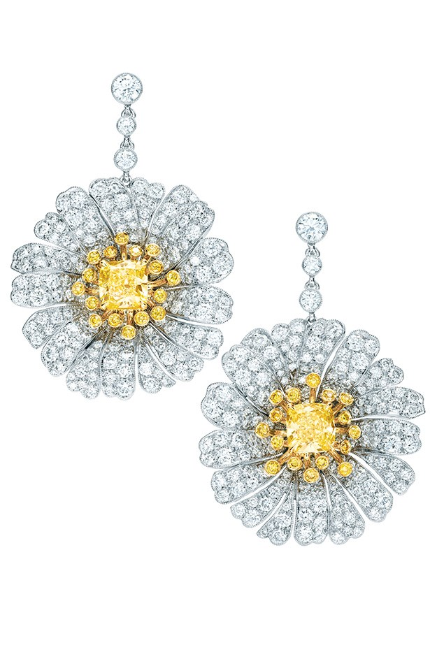 Tiffany & Co. Yellow Diamond and Diamond Daisy Earrings in platinum, $108,000.