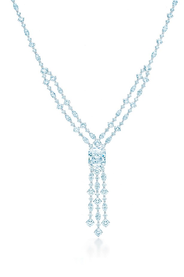 Tiffany & Co. Fringe Necklace with 20.01ct Rectangular Modified Brilliant Centre Diamond set with 39.87ct Diamonds in platinum, $8,893,500.