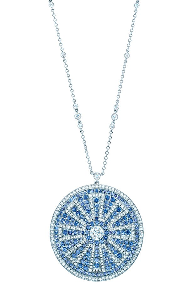 Tiffany & Co. Diamond and Montana Sapphire Pendant in platinum, $70,000.
