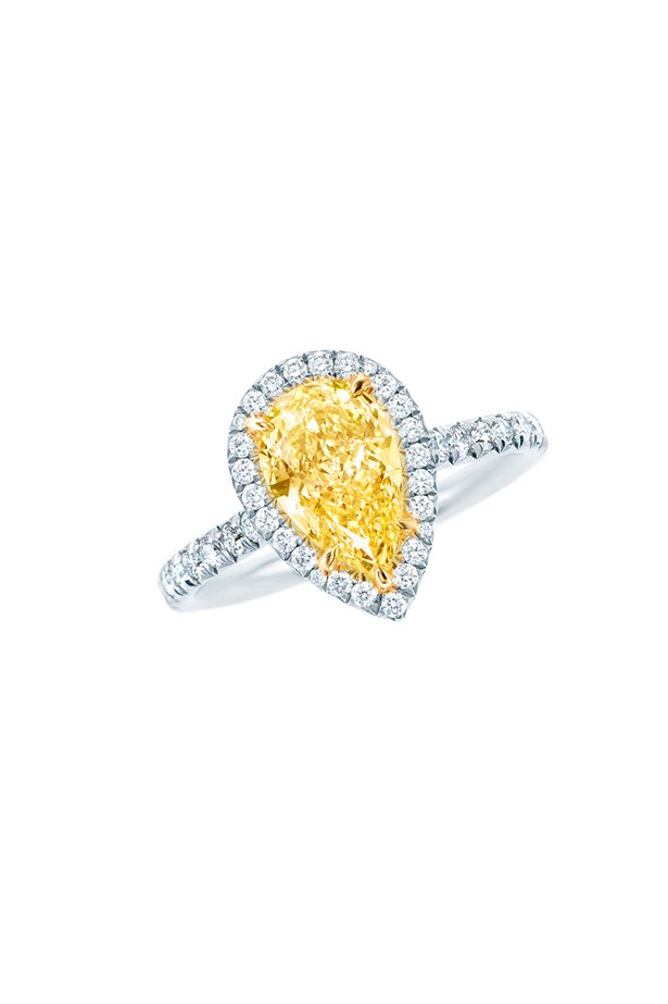 Tiffany & Co. 3.26ct Pear Cut Yellow Diamond and Diamond Ring  in platinum, $273,000.