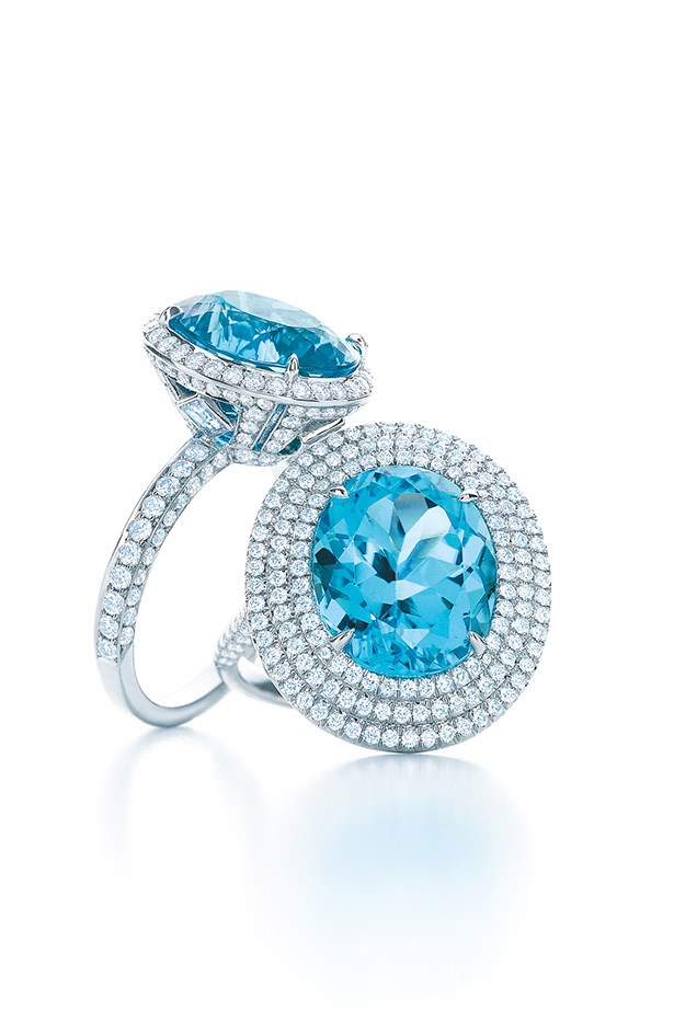 1. Tiffany & Co. 5.47ct Blue Cuprian Elbaite Tourmaline and Diamond Ring in platinum, $667,000.<BR><BR> 2. Tiffany & Co. 6.57ct Blue Cuprian Elbaite Tourmaline and Diamond Ring in platinum, $317,5000.