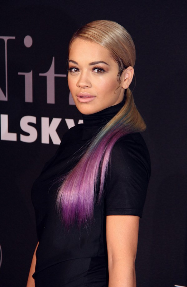 Rita Ora, who has also been a Smurf-like blue and pastel pink in the past, recently stepped out with this multi-coloured ponytail.
