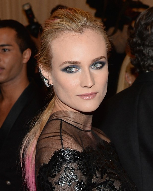 Another pink-tinted celeb at the Punk-themed Met Gala, Miss-can-do-no-wrong Diane Kruger added some subtle pink highlights to her up-do. This is a super-easy way to toe-dip the trend.