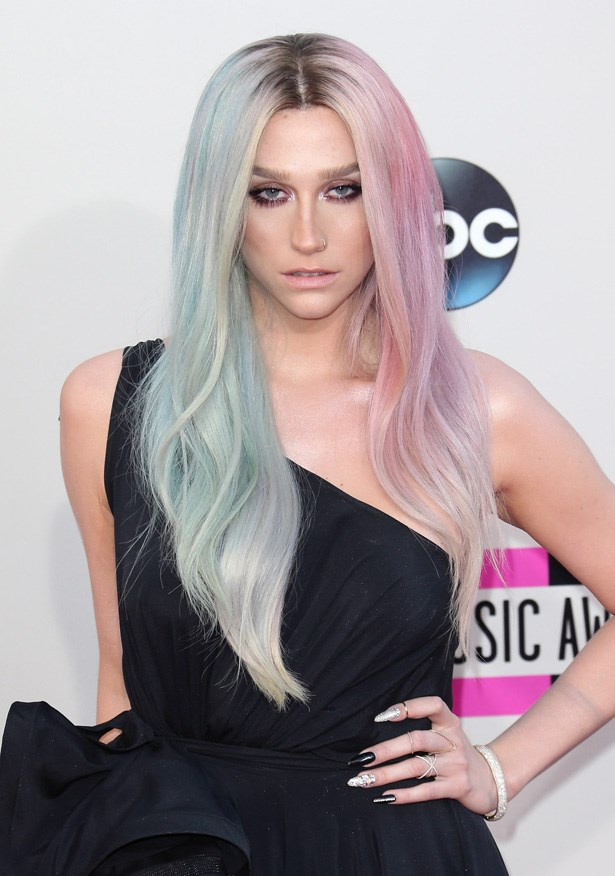 Clearly Kesha (she's since dropped the $) couldn't decide on a colour when she attended the American Music Awards last year. Ten points for boldness.