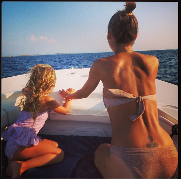 Another proud mum moment, ELLE Covergirl Nicole Richie uploaded this shot of her and Harlow riding in a speedboat. Cute. <br> Credit: @nicolerichie