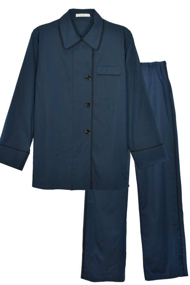 "Araks Kate pajama top, $232 and Ally pant, $168 in Sea Chambray, <a href=""http://www.araks.com"">araks.com</a>"