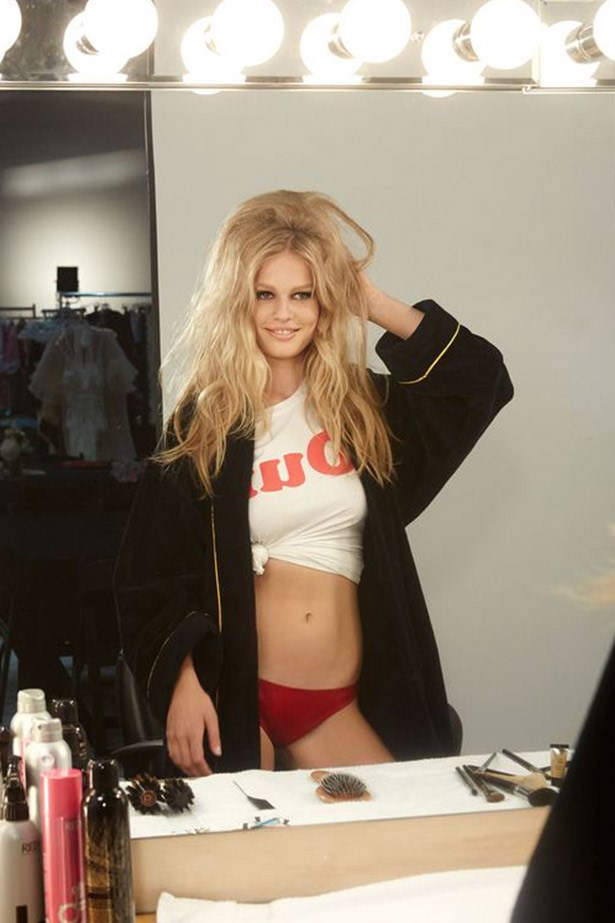 Anna Ewers, who was one of the star models from AW14 shows after walking a whopping 18 runways including Fendi, Dolce & Gabbana, Emilio Pucci and opening and closing Versace, channels Brigitte Bardot on the set of the shoot.