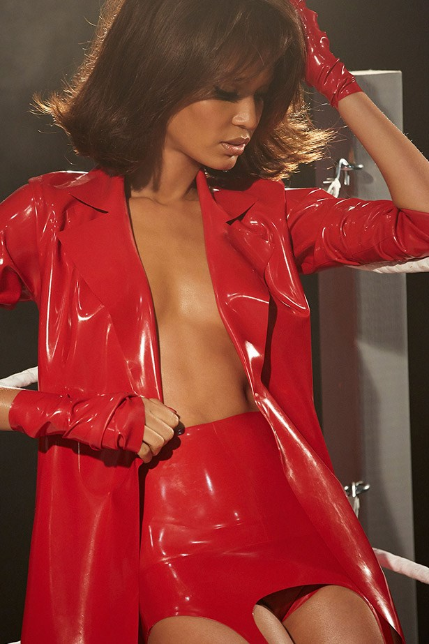 Red latex never looked so good. Puerto Rican model Joan Smalls makes us want all red everything.