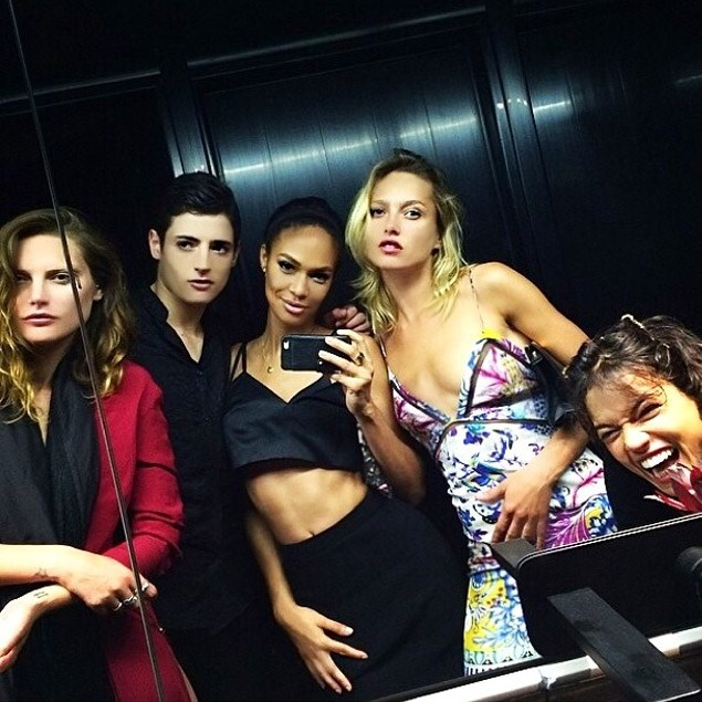 Model bathroom selfie starring Catherine McNeil, model and son of Stephanie Seymour, Harry Brant, Joan Smalls, Karmen Pedaru and Michelle Rodriguez.