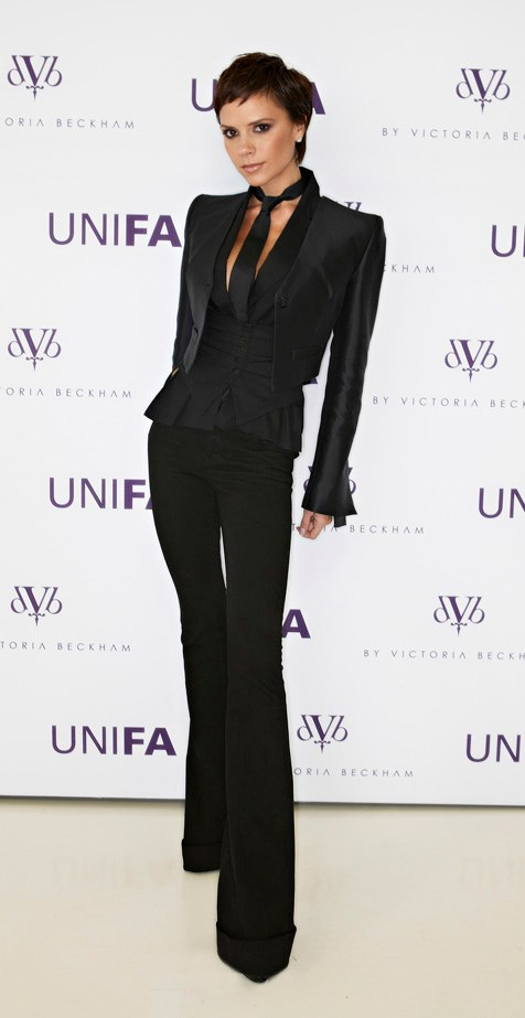 No other celebrity rocked luxury goth chic like VB in the late 2000s. This super-tailored look, which she wore to her dVb By Victoria Beckham' Denim Collection launch in 2008 was a highlight.