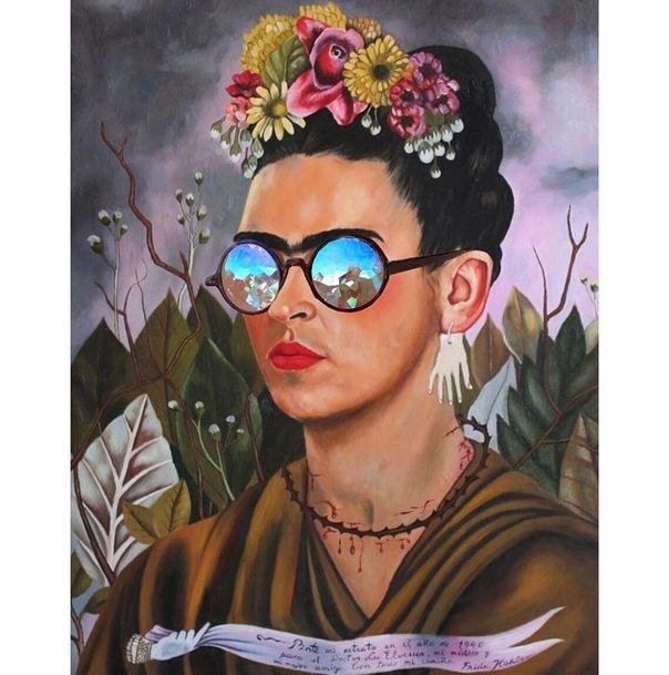 """""""Frida Dream."""" <br> Original: Self Portrait Dedicated To Dr Eloesser, Frida Kahlo <br> Added: H0les eyewear <br><br> Instagram: @copylab"""