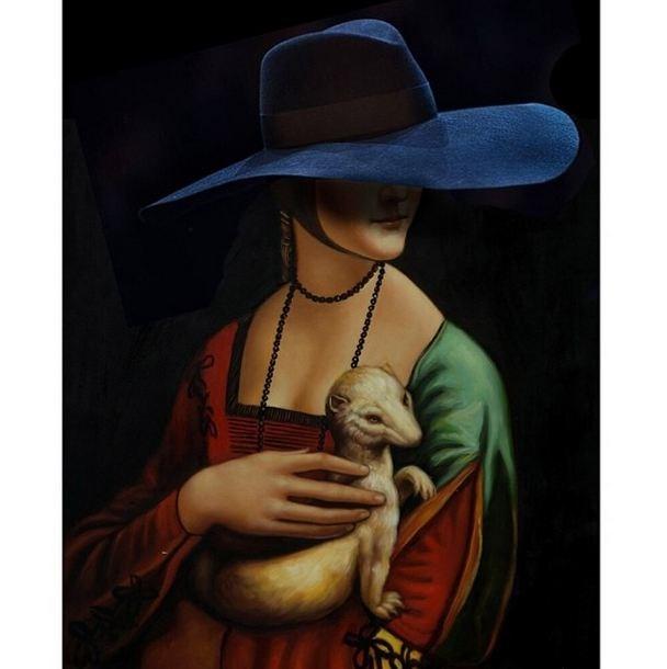 Original: Lady With An Ermine,  Leonardo Da Vinci <br> Added: Saint Laurent hat <br><br> Instagram: @copylab