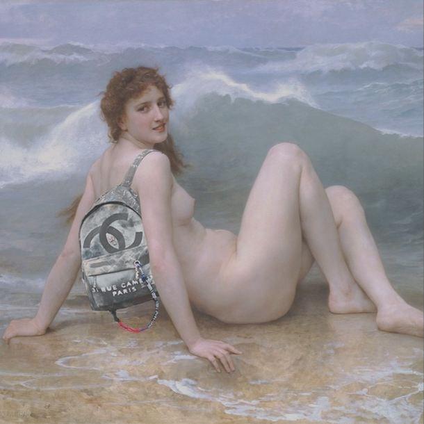 """Interlocking Seas."" <br> Original: The Wave, William Adolphe Bouguereau<br> Added: Chanel Canvas Graffiti Backpack"" <br><br> Instagram: @copylab"