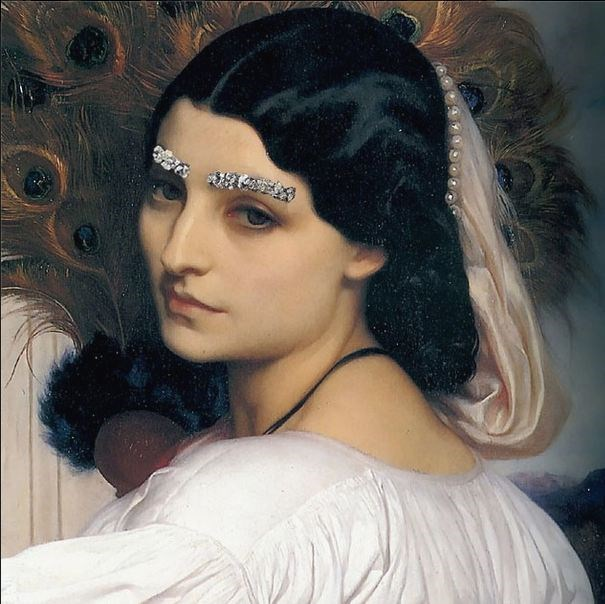 """Brow Down"" <br> Original: Pavonia, Frederic Leighton <br> Added: Chanel jewelled eyebrows from A/W 2012-13 show <br.<br> Instagram: @copylab"