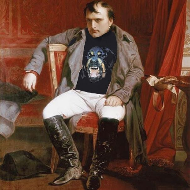"""Visibly Upset""<br> Original: Napoleon Emperor Defeated At Fontainebleau, Paul Hippolyte Delaroche <br> Added: Givenchy Rottweiler Shirt <br><br> Instagram: @copylab"