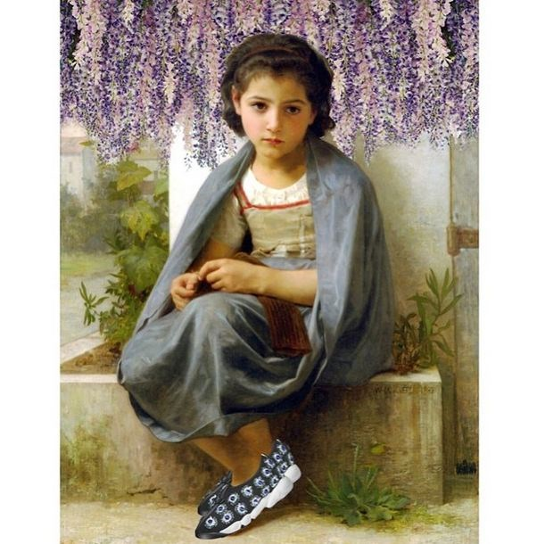 Original: The Little Knitter, William-Adolphe Bouguereau <br> Added: Dior trainers and wisteria from SS14 runway show <br><br> Instagram: @copylab