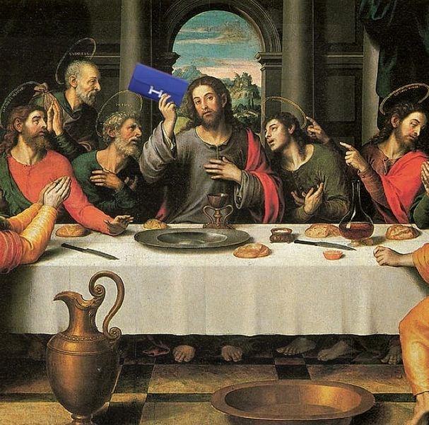 """""""He broke the Hermes, gave it to his disciples and said..."""" <br> Original: The Last Supper, Juan de Juanes <br> Added: Hermes wallet <br><br> Instagram: @copylab"""
