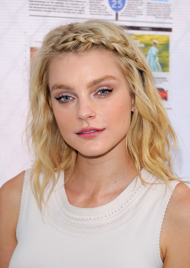 Shorter strands or super-damaged ends? Jessica Stam's front braid is a simple way to keep hair off your face without using elastic bands.