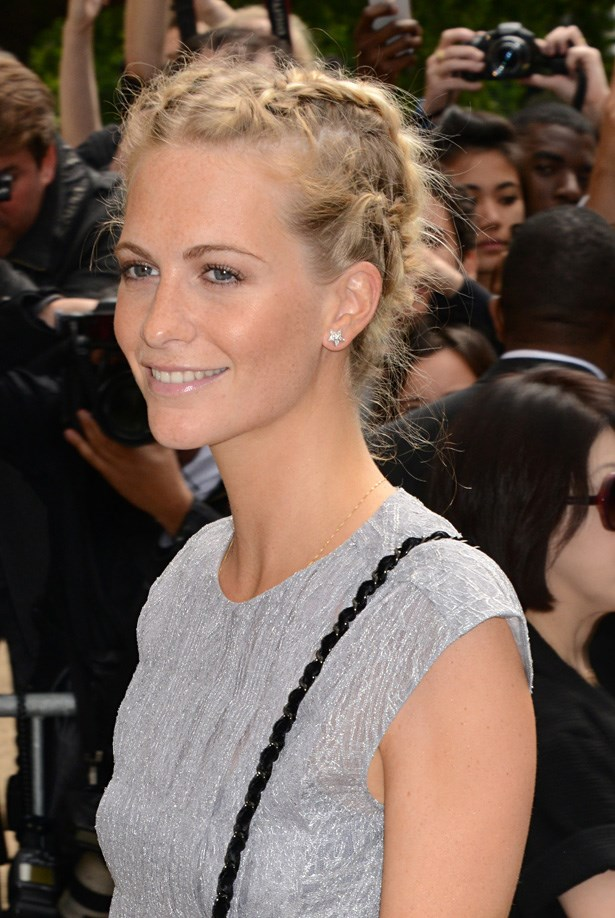 Running a marathon? Keep it classy and all swept up with a reverse french braid like Poppy Delevingne.