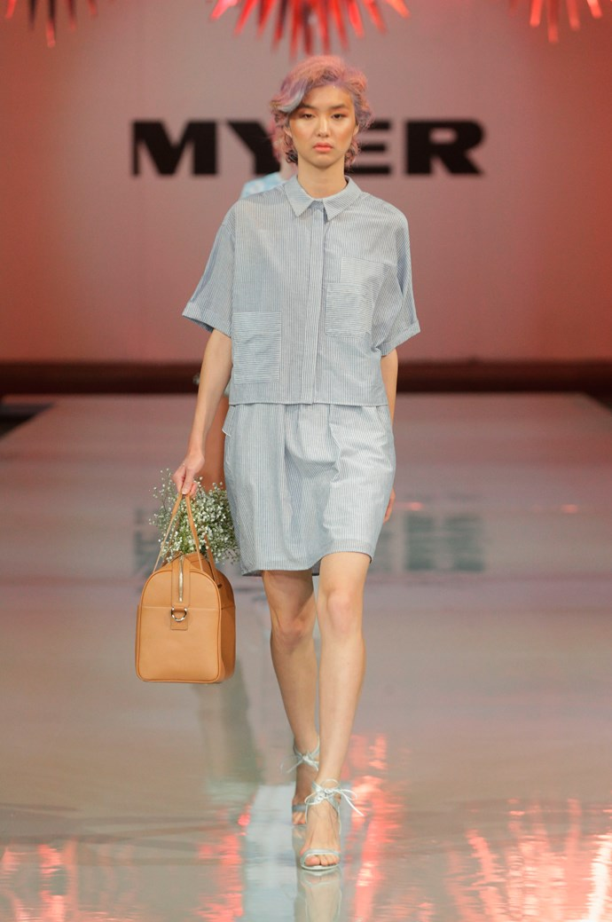 Preppy pinstripe shirt and skirt by Karen Walker.