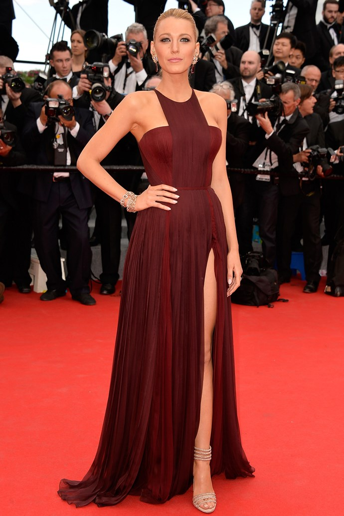 <strong>Blake Lively</strong><br> Blake wore a to-there Gucci split at this year's Cannes Film Festival so well we almost forgot about <em>Preserve </em>for a second. <em>Vanity Fair</em> didn't.