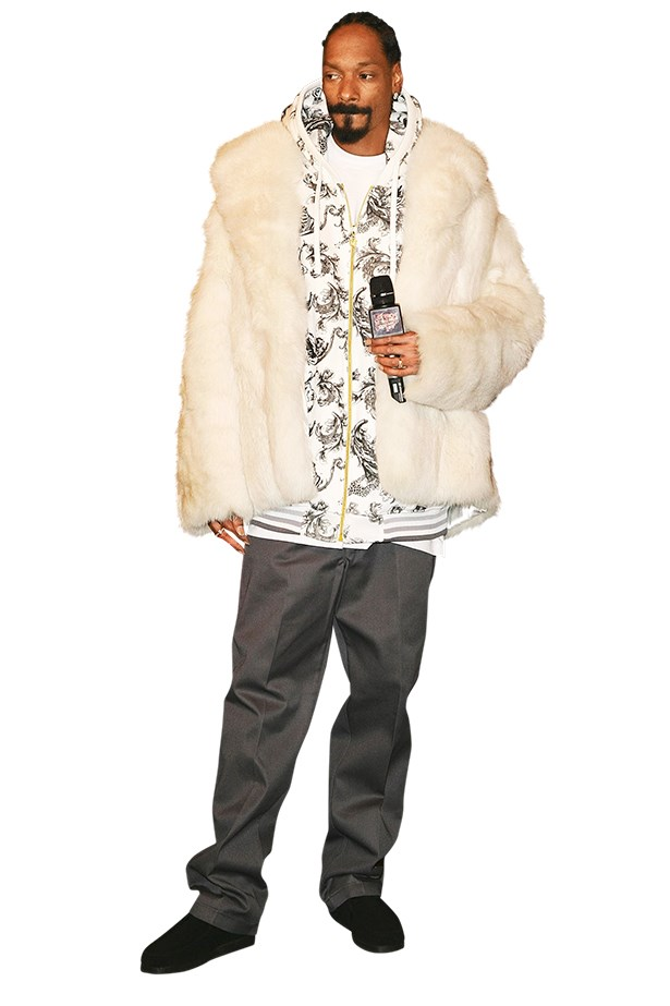 <p>Snoop in a fluffy winter white jacket</p>