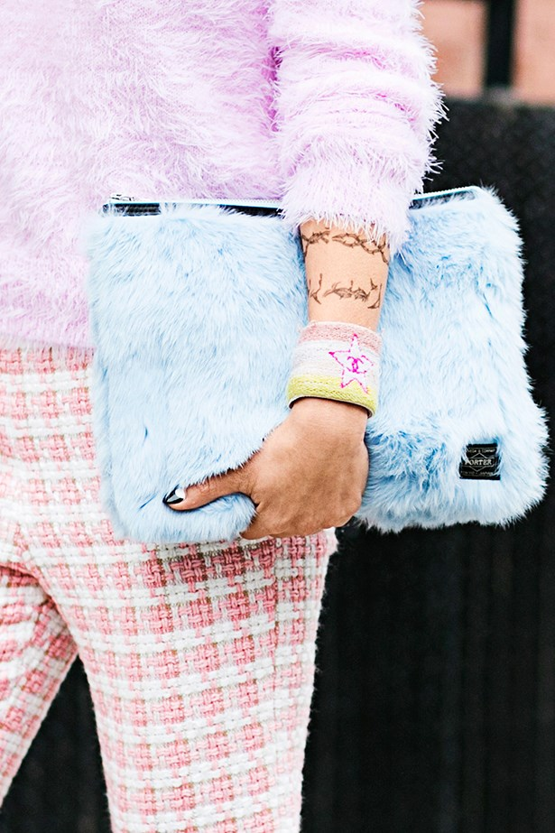 <p><strong>Extra Texture</strong></p> <p>When the weather doesn't quite call for monster proportions, a shearling panel or fuzzy finish updates your favourite carry sack. London label Shrimps is causing a street-style stir with their feel-good faux-fur clutches.</p>