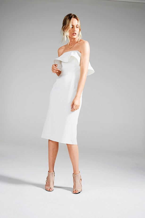 "<p><strong>Rule #02</strong></p> <p>Keep flourishes to a minimum: Too many details are distracting.</p> <p>Dress, $449, Casey Tanswell, <a href=""http://www.caseytanswell.com.au"">caseytanswell.com.au</a>; heels, $390, Bec & Bridge, <a href=""http://www.becandbridge.com.au"">becandbridge.com.au</a>; necklace, $210, ring, $270, both Natalie Marie Jewellery, <a href=""http://www.nataliemariejewellery.com"">nataliemariejewellery.com</a></p>"