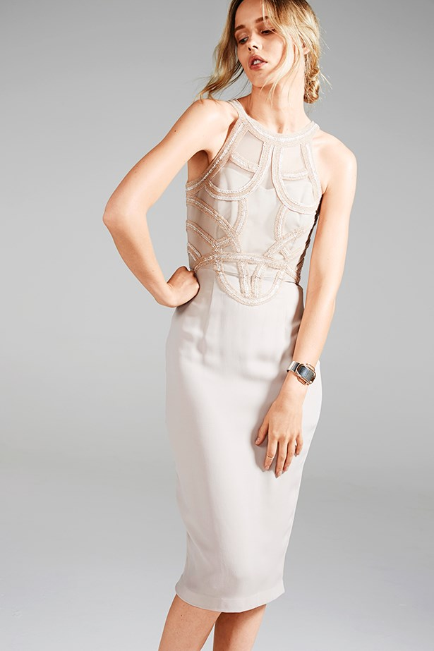 """<p><strong>Rule #05</strong></p> <p>Pay attention to trends: This detailed bodice shows you readmore than bridal magazines.</p> <p>Dress, $1,195, Rachel Gilbert, <a href=""""http://www.rachelgilbert.com"""">rachelgilbert.com</a>; cuff, $16,165, Hermès, (02) 9287 3200; ring, $49.95 for set, H&M, <a href=""""http://www.hm.com/au"""">hm.com/au</a></p>"""