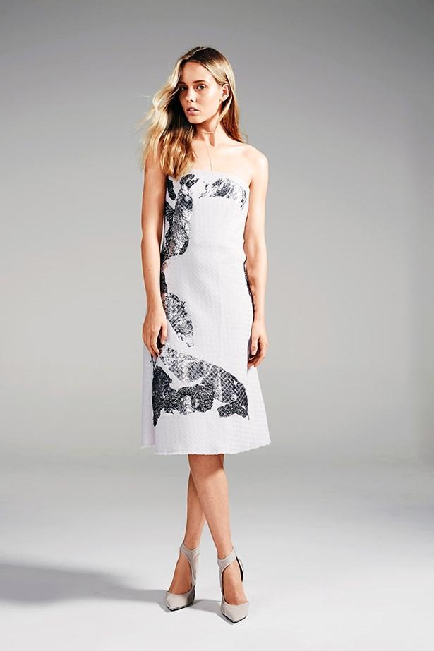 "<p><strong>Rule #06</strong></p> <p>Shine, but don't outshine: A strip of laminated metallic film makes this dress a subtle stand-out.</p> <p>Dress, $2,730, Bottega Veneta, (02) 9239 0188; heels, $1,295, Balenciaga, <a href=""http://www.misslouise.com.au"">misslouise.com.au</a>; necklace, $190, Natalie Marie Jewellery, <a href=""http://www.nataliemariejewellery.com"">nataliemariejewellery.com</a></p>"